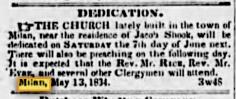 Dedication announcement in Pouughkeepsie Journal May 21, 1834.