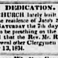 Dedication announcement in Pouughkeepsie Journal May 21, 1834.