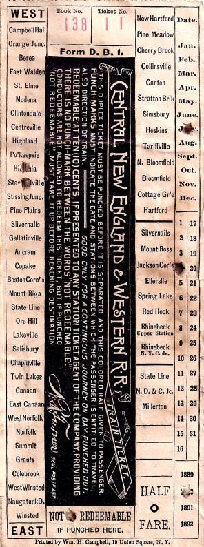 Ticket showing Jackson Corners as destination