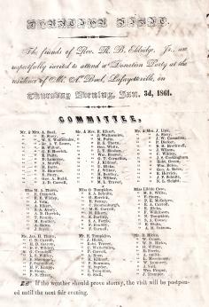 1861 invitation Lafeyetteville Buell home.