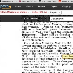 Name change to Cokertown May 1897.