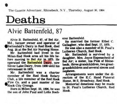 Alvie Battenfeld Obituary 1984